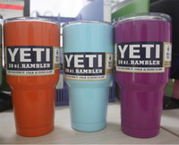 Wholesale YETI Tumbler Rambler Cups Blue Purple Orange Light blue green pink Yeti Coolers Cup oz Yeti Sports Mugs Stainless Steel Travel Mug