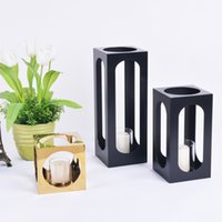 bar room accessories - Simple and Generous Design Cuboid Metal Gold and Black Candle Holder Home Decor Accessories Modern Candle Stand For Living Room