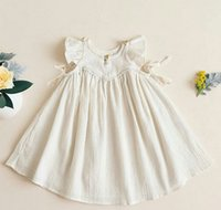 baby style clothings - Ins Summer Baby Girl Dress princess Ruffles fly sleeve Dress Cute Sweest Baby Kids white dress M M T T Girl Clothings A7955