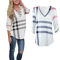 Wholesale New Fashion Plaid Irregular Girls T shirt Womens Clothing Loose Long Sleeve V Neck Fashion Plus Size Tops