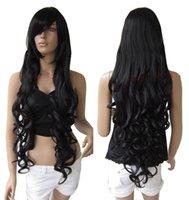 "Cheap Wholesale cheap 33"" Heat resistant Long Bang Black Spiral Wavy Cosplay Party Hair Wig 1B"