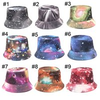 Wholesale 21 Colors New Fashion Women Galaxy Summer Bucket Sunhat Wide Brim Flower Printing Basin Canvas Topee Hats Sun Protection Beanie Caps