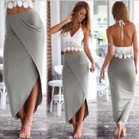 Wholesale Bodycon High Waist Dress Set Piece Long Short Crop Top and Midi Pencil Skirt Set Lace Deep V Halter Camisole Dress