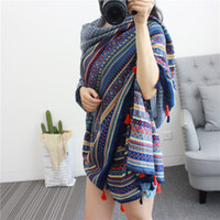 Wholesale Ethnic Style Womens Scarves Cotton Stripes Scarves Autumn Winter Long Scarves Fashion Designer Pashmina Neck Scarf for Women dy J164