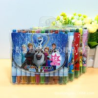 Wholesale Carton Frozen Cars Short Colors Rolling Crayon Doodle Draw Children Baby Kid Toy Gift Painting Shredded Safe Water Soluble Crayon
