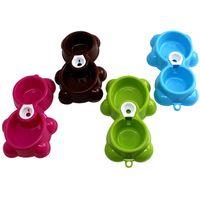 bear fountains - Dish Water Food Feeder Fountain Bear Double Bowl Hot Puppy Dog Cat Bowl XT