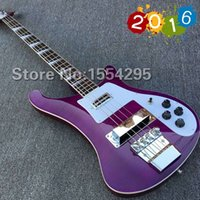 bass guitar photos - New Arrival Top quality Rick model Ricken strings Electric Bass guitar in Purple color Flamed maple top Real photo show