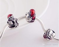 Wholesale Chirsmas Hot Red Clothes Santa Claus Charm European Charms Beads Fit DIY Snake Chain Bracelet Fashion Jewelry