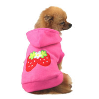 Wholesale Lovely Pet Puppy Dog Strawberry Hoodie Apparel Warm Coat Jacket Clothes Outfit