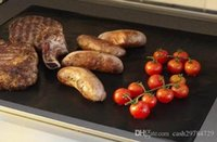Wholesale 1pc Barbecue Grilling Liner BBQ Grill Mat Portable Non stick and Reusable Make Grilling Easy CM MM Black Oven Hotplate Mats By Fedex