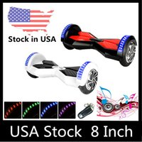 Wholesale 8 quot Two Wheels LED Scooter Smart Hoverboard Bluetooth Music Player Electric Scooters Unicycle Remote Skateboard Multicolor USA Delivery
