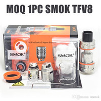 Wholesale 1PC SMOK TFV8 Tank Full Kit ml Top Refill Adjustable airflow Sub Ohm Tank For thread Box Mod clone