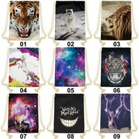 Wholesale 22 Styles Fashion D Printing Drawstring Bag High Quality Sublimation Print Backpacks New Design Sports Outdoor Backpack
