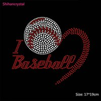 baseball rhinestone iron on transfers - Hot Selling I Love Baseball Hotfix motif Iron on Rhinestone Transfer Motifs For Garment Acessory