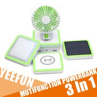 3IN1 mini ventilador Ventilador de techo Multifuncion el Powerbank cargador inalámbrico al aire libre llevó el mini ventilador de Micro USB 10000mAh de la energía solar