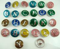 alphabet english - new mix High quality Alloy Chunk Snap Button charm fit NOOSA bracelet diy charm Jewelry Accessories English alphabet series