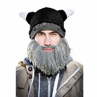 beanie with beard - Halloween Costumes Hats for Men Winter Knitting Hat with Beard High Quality Hat Colorful Hats Colors