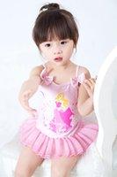 Wholesale 2016 baby girls beach spa swimming Korean Snow White dress piece swimsuit for chirldren go to vacation gift