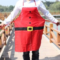 Wholesale Novelty Christmas Apron Kitchen Non woven Christmas Cooking Aprons for Woman Santa Claus Christmas Dinner Party Decorations