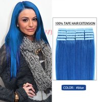 Wholesale Best Selling BLUE Tape Human Hair Weave Inch to Inch Skin Human Hair Extension bag Real Hair Pure Human Hair Extension