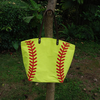 Wholesale Cotton Canvas Softball Tote Blanks Softball purse with PU Handle and Magnetic Snap Closure DOM106281
