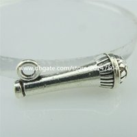 antique microphone - 14880 Alloy Antique Silver Vintage Cute Singing Microphone Pendant Charm