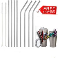 Wholesale DHL Free SUS304 Stainless Steel Drinking Straws Cleaner Brush Reusable Bendy Metal Kitchen Hot For Yeti
