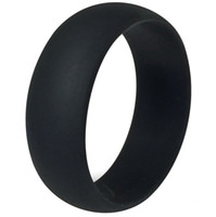 band flexible - 8MM Size Black Silicone Ring Band Hypoallergenic Rubber Wedding Outdoor Party Crossfit Flexible Sports Fishing