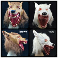 animal carnival costumes - Halloween Party mask Bloody mouth Red Eye New Wolf Masks Scary Animal Mask Creepy Carnival Costume white brown color