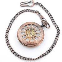 Wholesale Mechanical pocket watch Copper tone case Arabia Digital Watch for sales Can be mixed batch with styles