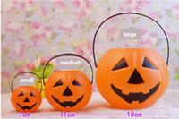 achat en gros de halloween lanterne sacs-Classique de halloween plastique citrouille lanterne enfants bonbons sac partie décoration d'Halloween pour Home Restaurant magasin sourire visage Livraison gratuite