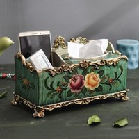 Wholesale European style retro multifunctional tissue box IKEA remote storage box American table napkin box household living room table decoration