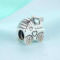 baby cross bracelet - 925 Sterling Silver Baby Carriage Charm Silver Big Hole Loose Beads Fits Pandora Bracelets For Diy European Necklace