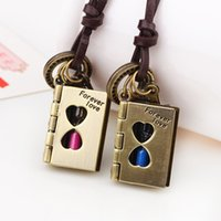alloy books - 2PCS Fashion Personality Retro Harry Potter Magical Book Hourglass Pendant Necklace Metal Embellishments Accessories cm SP