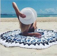 Wholesale Outdoor yoga mat round beach towel microfiber terry printed beach towel round Europe and America fringed rest cushion