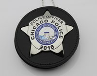 badge leather - US CHICAGO POLICE POLICE OFFICER BADGE WITH CUT OUT LEATHER HOLDER Brass