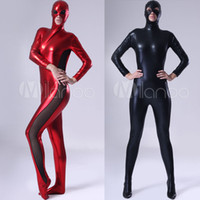 adult womens halloween costumes - High Quality Adult Womens Sexy Halloween Red Shiny Metallic Zentai Suit Cosplay Costumes Lycra Zentai Costume Full Body Suit
