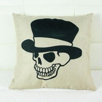 Wholesale New Creative Skull Pattern x45cm Linen Cushion Covers For Sofa Decorative Throw Pillow Case Cotton Pillowcover Couch Decor