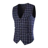Wholesale New Men Vests Blazers Jackets Waistcoat Men s Casual Fashion Brand Slim Fit Sleeveless Business Men Suit Vests