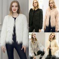 Wholesale New Womens Shaggy Faux Fur Coat Fashion Winter Coat Jacket Long Sleeve O Neck Short Bomber Jackets Parka Coats Overcoat