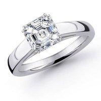 asscher setting - 3 Ct Asscher Diamond Solitaire Plat Ring EGL G VS1
