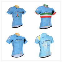 Wholesale 100 Polyester Astana Cycling Jersey Short Sleeve Summer Men Women Cycling Top Shirts Breathable Mountain Bike Cycling Clothing