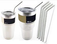 Wholesale 304 Stainless Steel Straw Metal Drinking Straw Beer Juice Straws Cleaning Brush Set Retail Packing Kit Fits Yeti Tumbler Rambler Cups