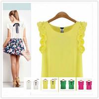 al por mayor v cuello de la blusa amarilla-S-XXL Nuevo 2016 Mujer O-Cuello Lotus Leaf Pullover Lacing Bow Gasa camisa Blanco y Amarillo Color Top Mujeres Blusas