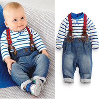 basque suspenders - Autumn Baby Boy Cotton Basque Shirt and Jeans Suspenders pieces Kids Clothing Sets Drop Shipping