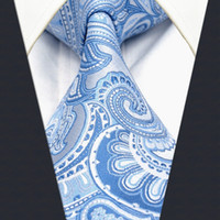 azure silk - Y12 Paisley Azure Silver Men s Accessories Ties Necktie Silk Jacquard Woven Fashion Brand New