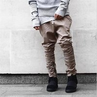 apricot jeans - Hi Street Mens Joggers Pants Apricot Side Zipper Trousers Hip Hop Mens Casual Pencil Jeans P2008