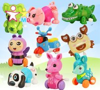 Wholesale Children s cartoon clockwork toys baby children s inertia toys back mini car gift chain animals Wind Up Toys baby Toys