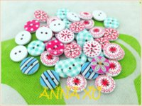Wholesale lovely flowers wooden decorative buttons garment accessorie painted wooden buttons sewing accessories Buttons