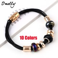 Wholesale New European Bead P Charm Bracelets Gold Filled Leather Bracelet with Magnetic Clasp Jewelry Christmas Gift in Bulk Cheap